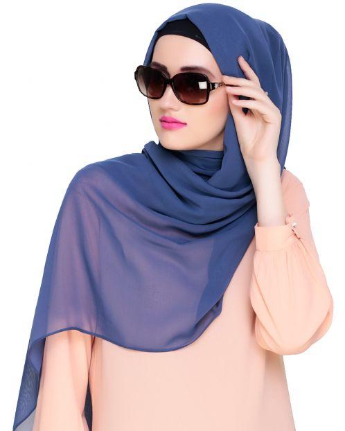 Plain Steel Blue Silk Georgette Hijab