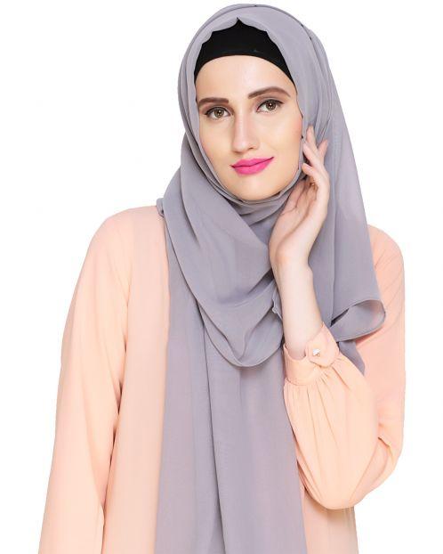 Plain Smokey Grey Silk Georgette Hijab
