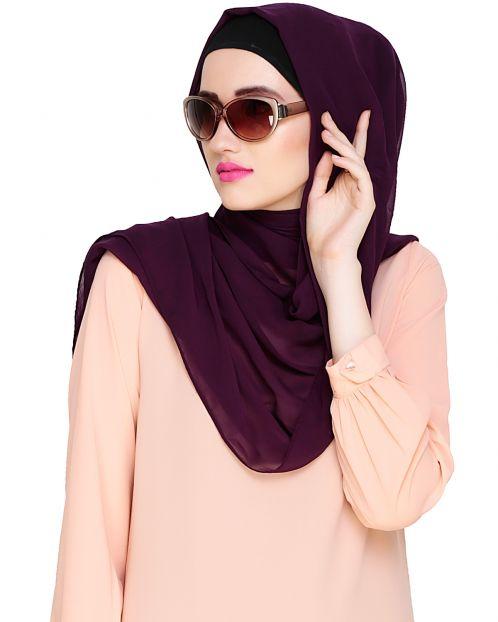Plain Purple Silk Georgette Hijab