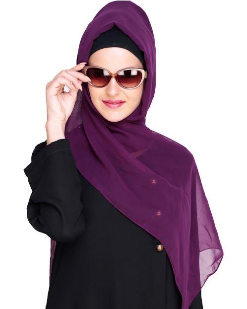 Plain Raisin Purple Silk Georgette Hijab