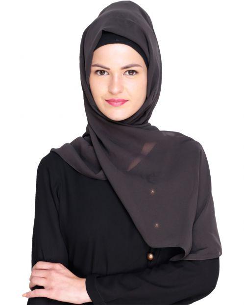 Plain Pebble Grey Silk Georgette Hijab