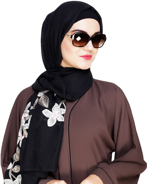 Floral Emboidered Black Hijab