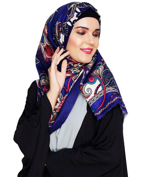 Alluring Printed Blue Hijab