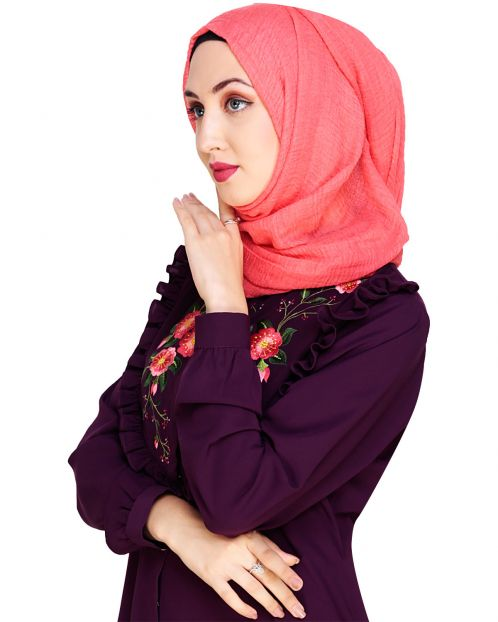 Crinkled Cotton Coral Hijab