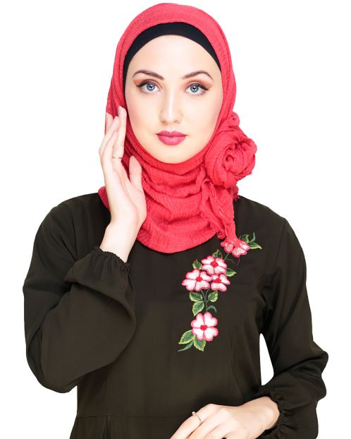 Crinkled Cotton Red Hijab