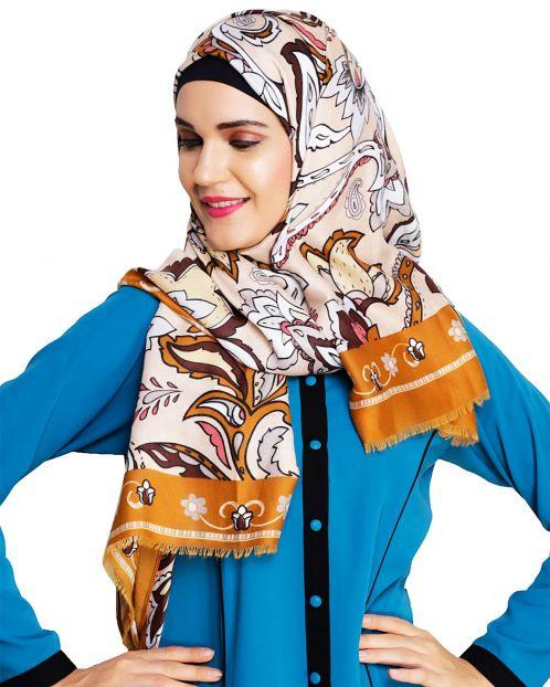 Alluring Printed Ochre Hijab