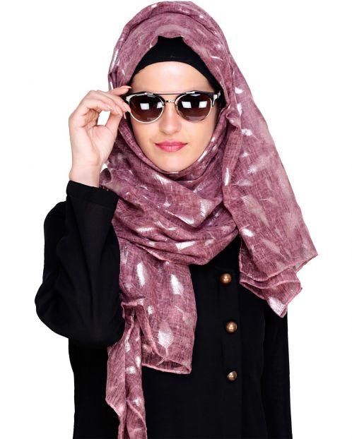 Feathery Foil Print Wine Hijab