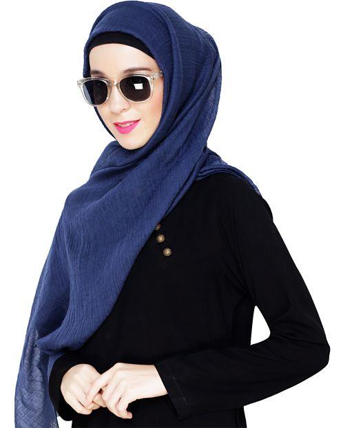 Comfy Dark Blue Cotton Hijab