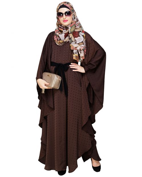 Brown Textured Belt Kaftan