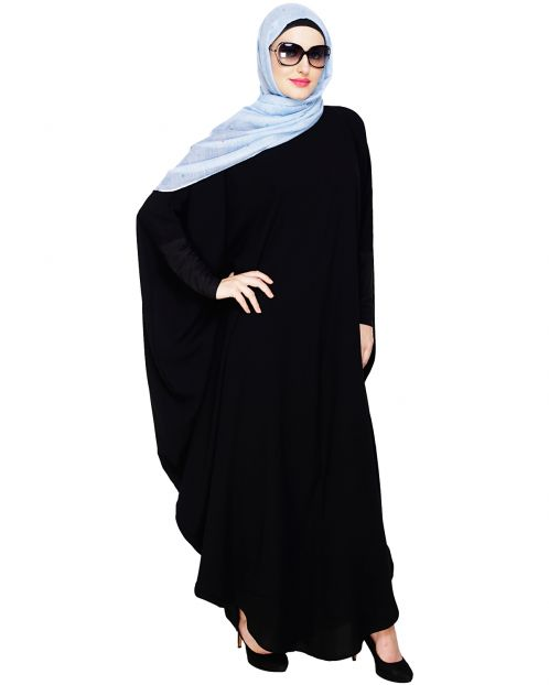 Quirky Jersy Sleeve Black Kaftan