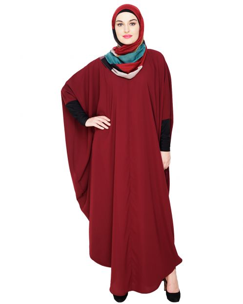 Quirky Jersy Sleeve Wine Kaftan