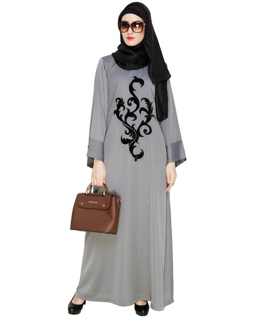 Grey Plush Dubai Style Abaya