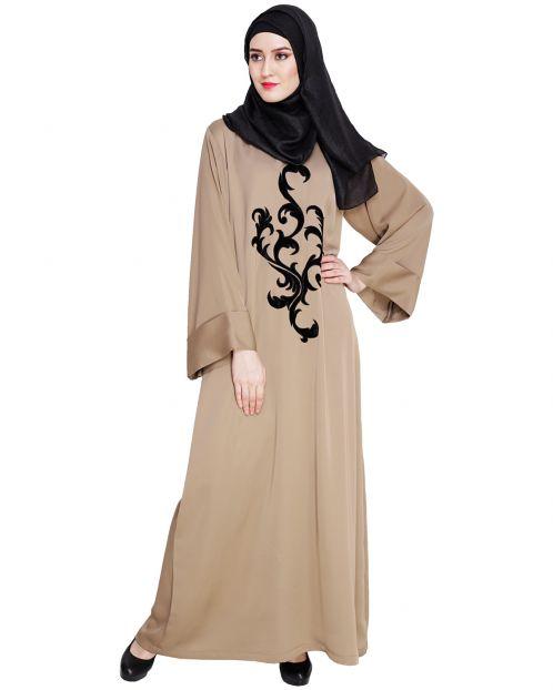 Beige Plush Dubai Style Abaya