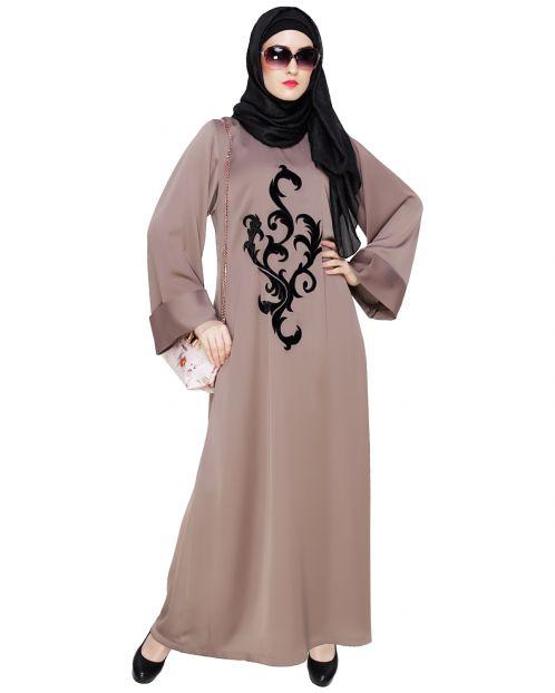 Umber Brown Plush Dubai Style Abaya