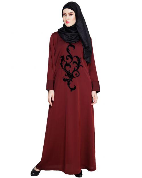 Wine Plush Dubai Style Abaya