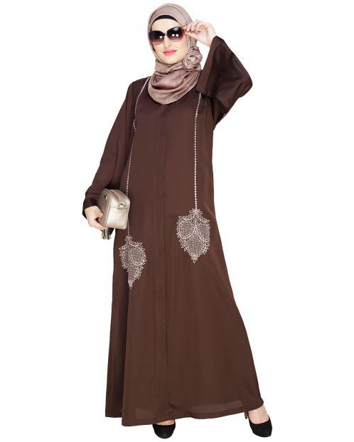 Wondrous Brown Dubai Style Abaya