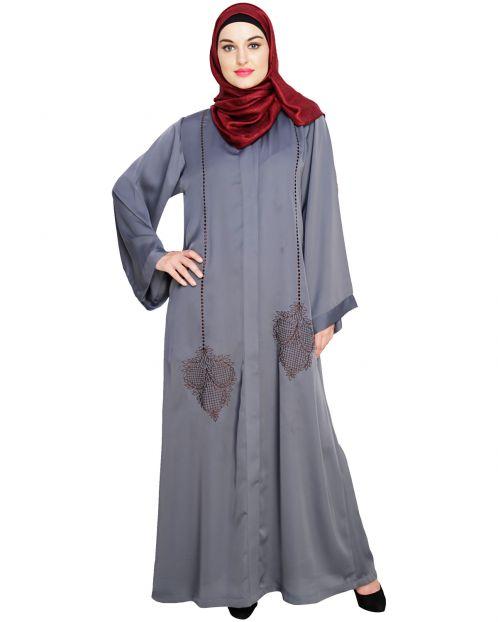 Wondrous Grey Dubai Style Abaya