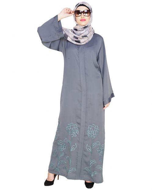 Mesmerising Grey Dubai Style Abaya