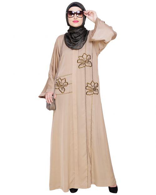 Stellar Beige Dubai Style Abaya