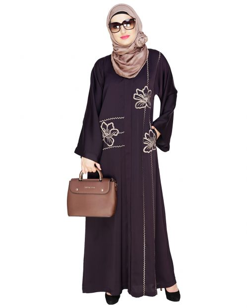 Stellar Dark Purple Dubai Style Abaya