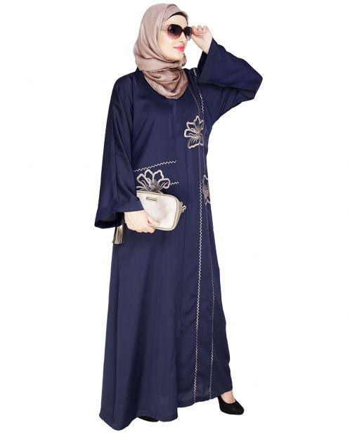 Stellar Blue Dubai Style Abaya