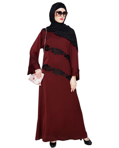 Fancy Embroidered Wine Dubai Style Abaya