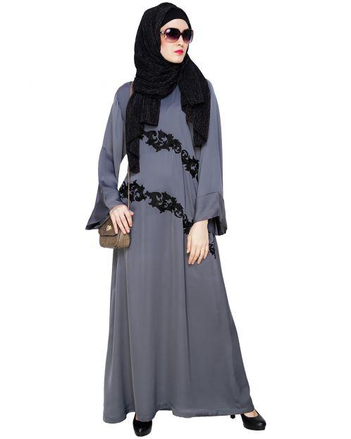 Fancy Embroidered Grey Dubai Style Abaya