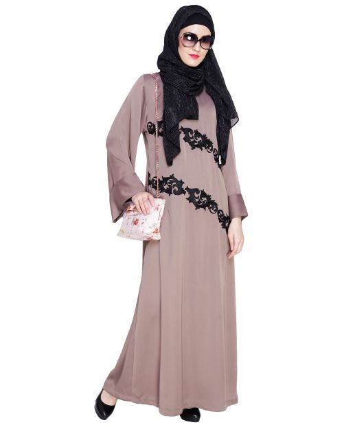 Fancy Embroidered Umber Brown Dubai Style Abaya