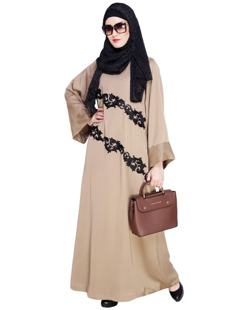 Fancy Embroidered Beige Dubai Style Abaya