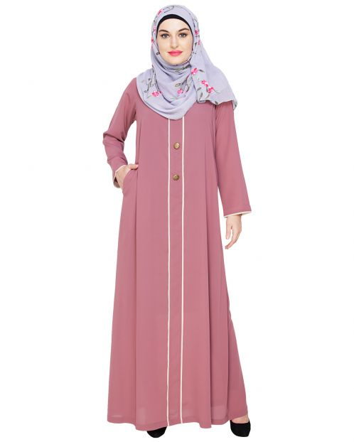 sleek Onion Pink Abaya