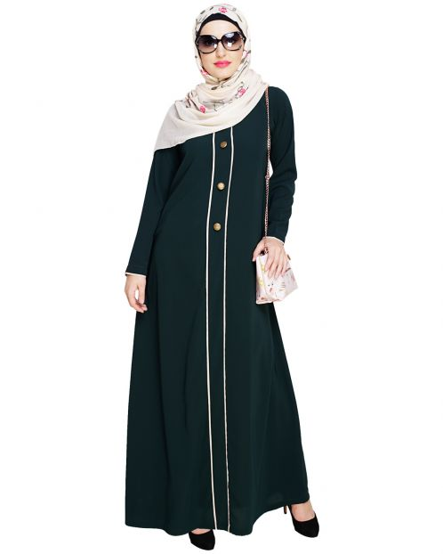 sleek Bottle Green Abaya