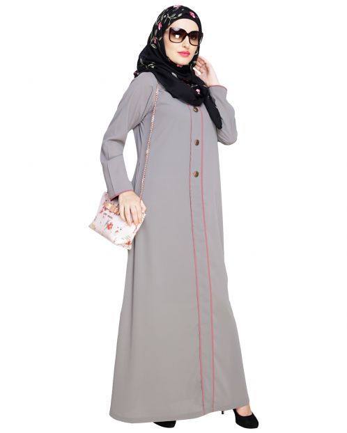 sleek Grey Abaya