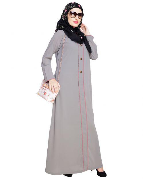 sleek Grey Abaya