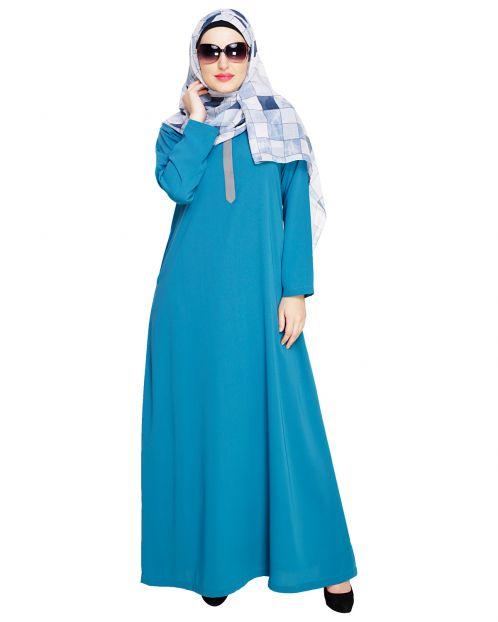 Sober Teal Blue Abaya