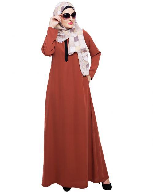 Sober Brick Red Abaya