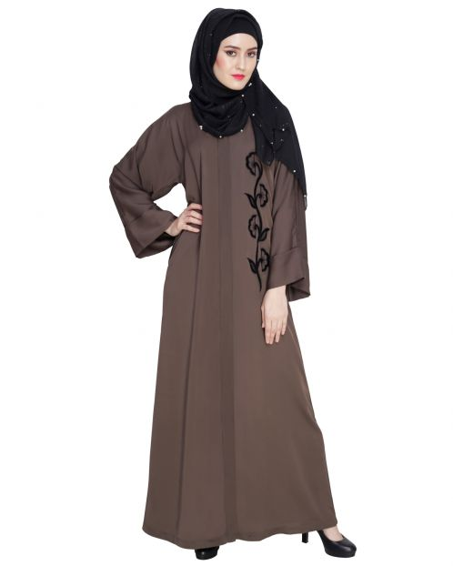 Exclusive Oak Brown Applique Dubai Style Abaya