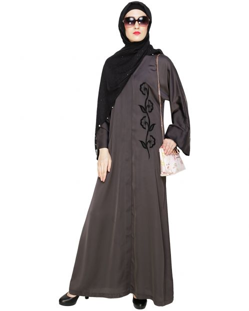 Exclusive Dark Grey Applique Dubai Style Abaya