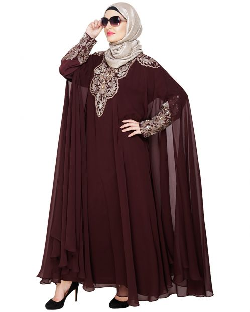 Luxury Dark Wine Irani Kaftan