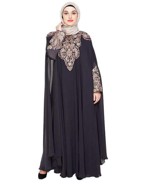Luxury Dark Grey Irani Kaftan