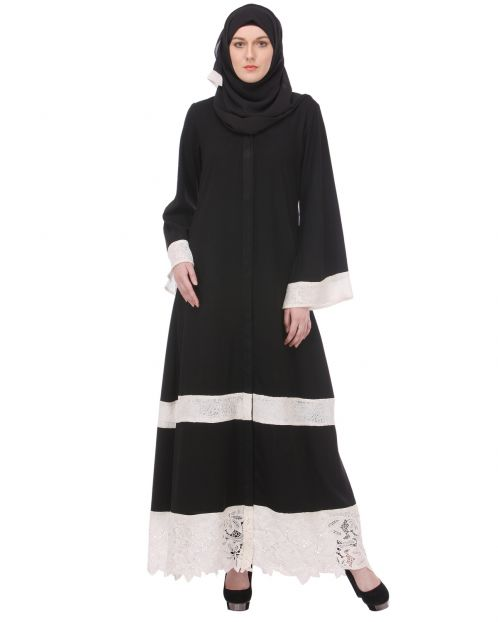 Basic Black Abaya with White Net Trims