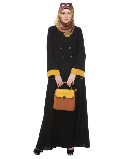 Coat-style Abaya with Chrome Yellow Sleeves