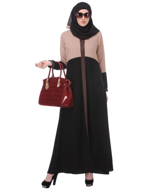 Casual Black & Beige Abaya