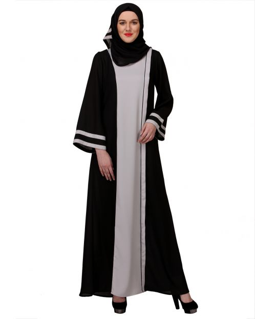 Breezy Black & White casual Abaya