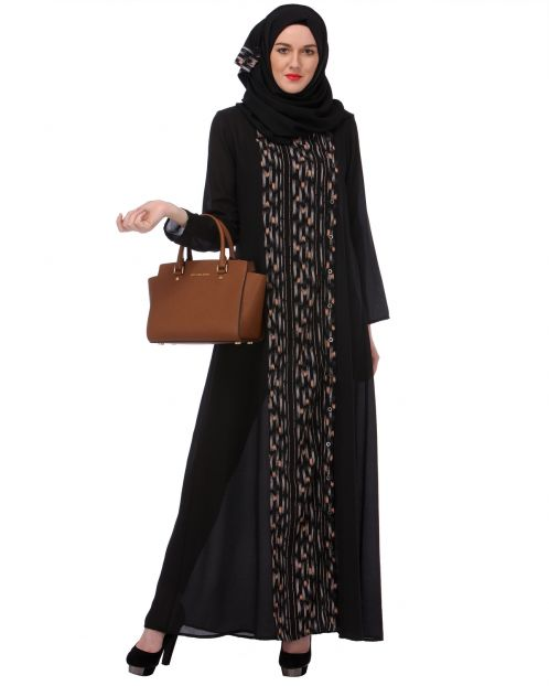 Printed Front-panel Black Abaya