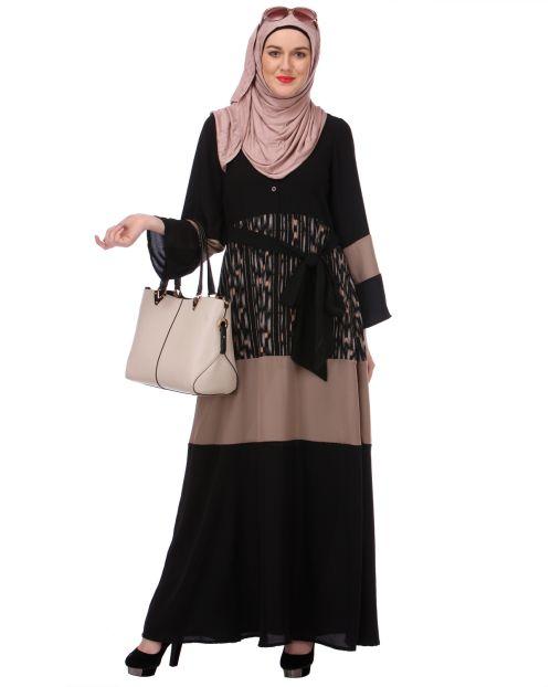 Block Panel Black & Beige Abaya