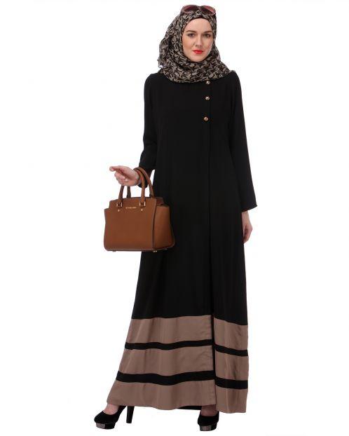 Beige Block Formal Black Abaya