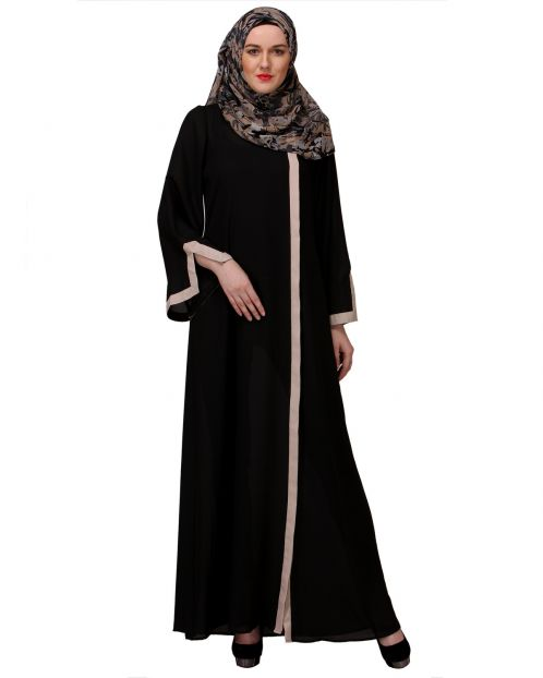 Slit Sleeve Black & Beige Abaya
