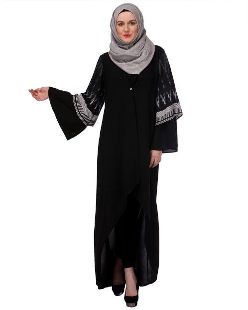 Layered High-Low Black Abaya