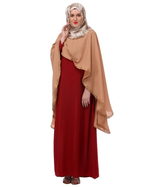 Red and Fawn Dupatta Drape Abaya