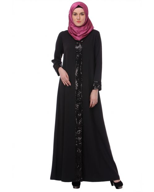 Sequined Charcoal Black Abaya